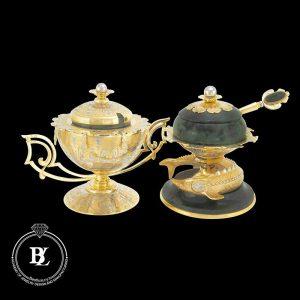 ظروف نقره خاویار با روکش طلا